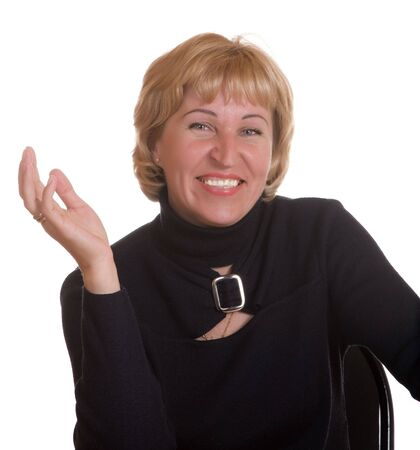 expresses: The mature woman expresses pleasure on a white background