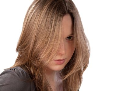girl with the dismissed hair and a severe look isolated