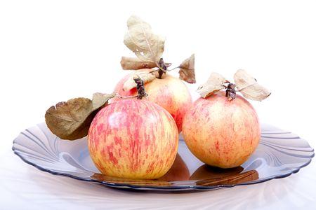 hojas secas: Manzanas con hojas secas sobre una placa de vidrio  Foto de archivo