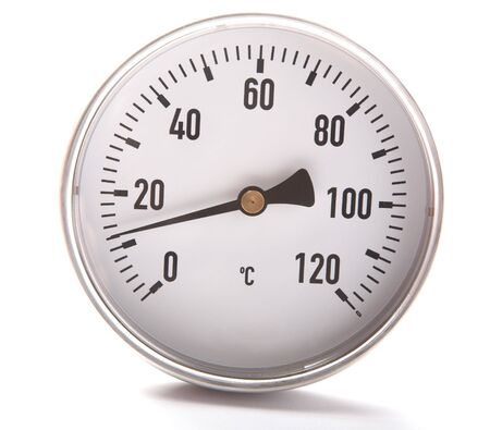 The round thermometer isolated on a white background Stock Photo