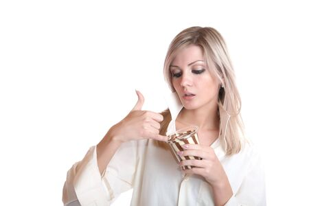The girl eats chocolate paste on a white background Stock Photo - 6341707
