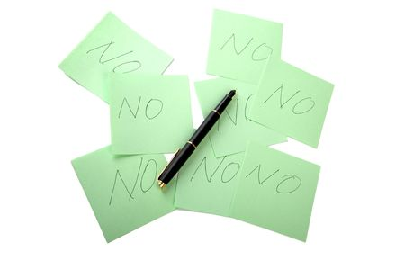 Pen and sticky note on a white background Stock Photo - 6626985