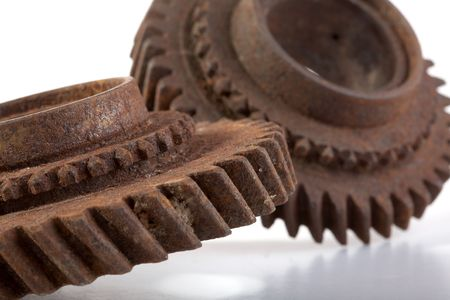 Rusty gears on a white background isolated