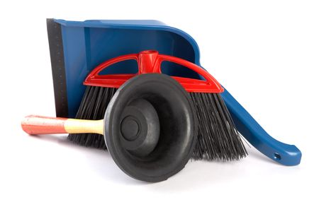unblock: Scoop for dust,plunger and  brush on a white background