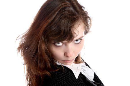 frowned: The frowned girl in business suit on a white background