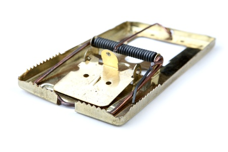 gimmick: Metal mousetrap on a white background
