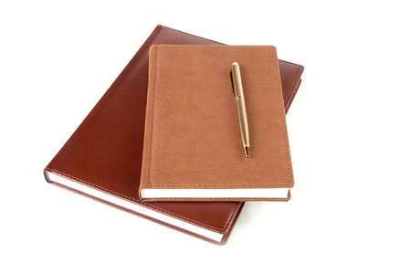 Two organizers and pen isolated on a white background