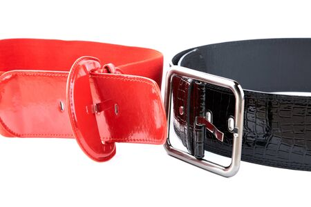 Black and red female belt on a white background Stock Photo - 9129548