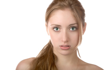 Portrait of the girl with green eyes on a white background photo