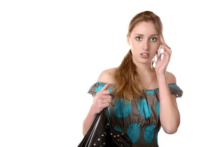 cellular telephone: The girl with a cellular telephone on  white background