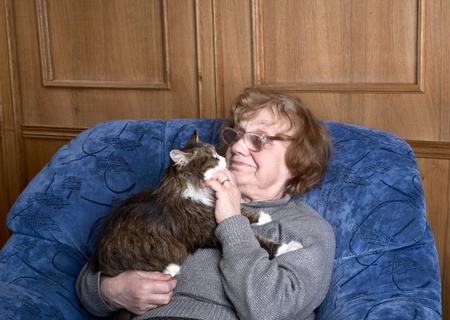 old woman in an armchair with a cat on hands 写真素材