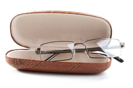 glasses in a case on a white background Stock Photo