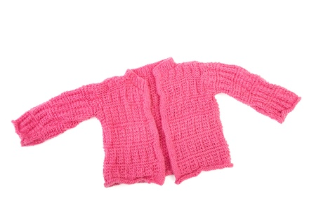 Knitted jacket for the baby isolated on a white background