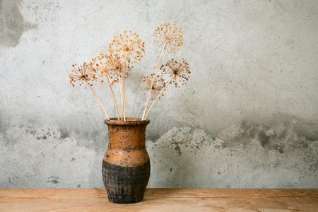 ceramica: Antigua jarra con flor seca contra una pared de cemento