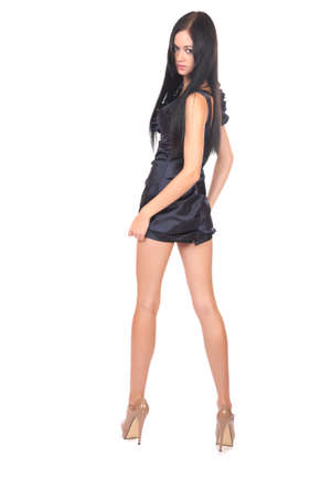 vestido corto: chica en vestido corto retrato completo sobre un fondo blanco