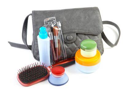 女性のバッグ、化粧品、白い背景で隔離 写真素材 - 11497101
