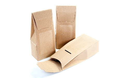 boxes from the goffered cardboard isolated on a white background Stock Photo