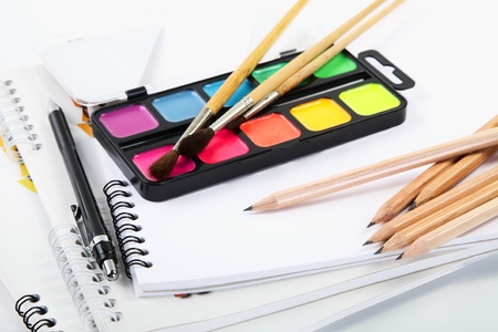 Albums for drawing with water colour paints and pencils photo