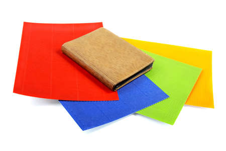 goffer: Notebook on sheets of the goffered cardboard  isolated Stock Photo