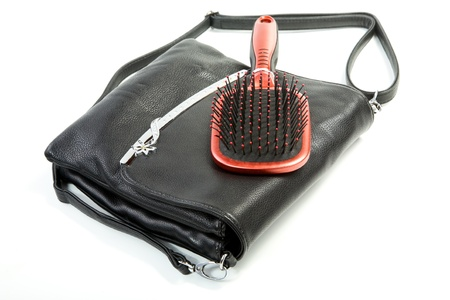 Female bag and hairbrush isolated on a white background Stock Photo - 13001947