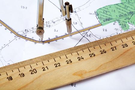 計および定規がある地区の地形図 写真素材 - 13231495