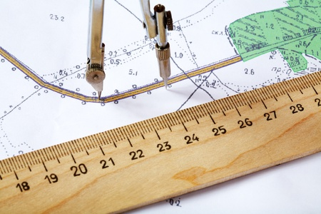 Topographic map of district with  measuring instrument and  ruler Stock Photo