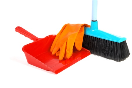 Scoop for dust rubber gloves and  brush on a white background photo