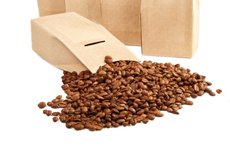 goffer: The goffered cardboard box with coffee grains Stock Photo