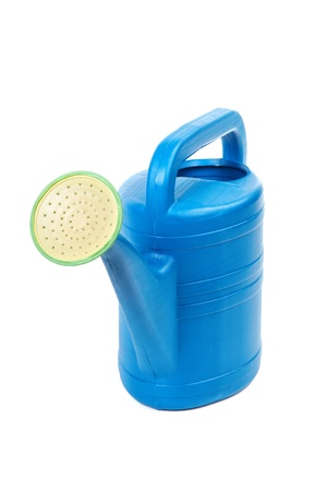 Plastic watering can isolated on a white background Stock Photo