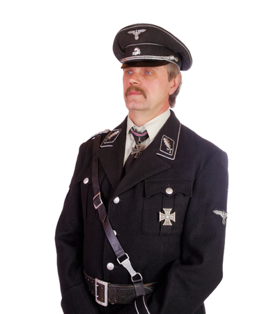 man in the form  standartenfuehrer ss isolated on a white background