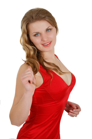 girl in a red dress with the big breast Stock Photo