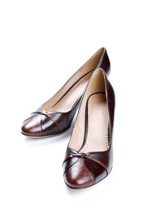 opentoe: Brown female shoes isolated on a white background