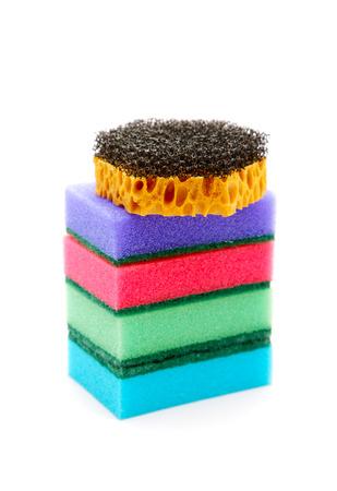 orange washcloth: Sponges for ware washing isolated on a white background