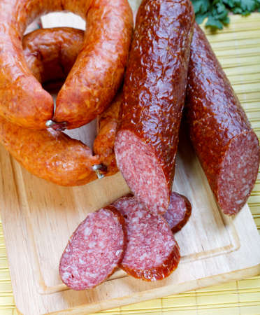 ringlets: Smoked sausage ringlets and cut in the portions