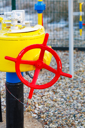inoperative: The red crane and gas pipe Stock Photo