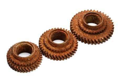 interlink: rusty gears isolated on white background