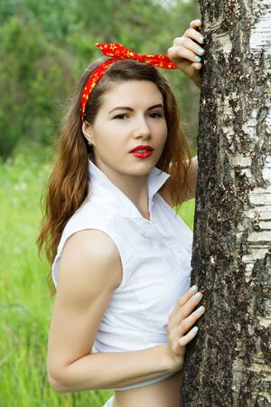 gir: Girl resting in the forest summer