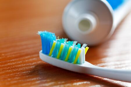 toothpaste: toothbrush and toothpaste closeup