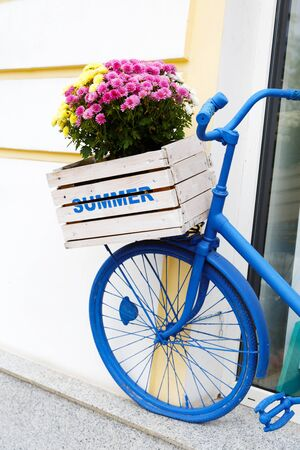 decorated bike: old bicycle with flowers box