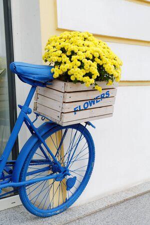 bicyclette: vieille bicyclette avec des fleurs bo�te
