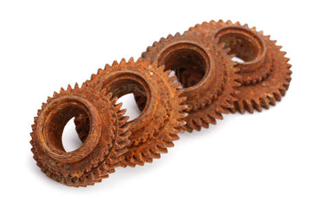 interlock: rusty gears isolated on white background