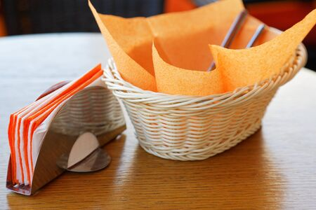 napkins: napkins on a table in a cafe