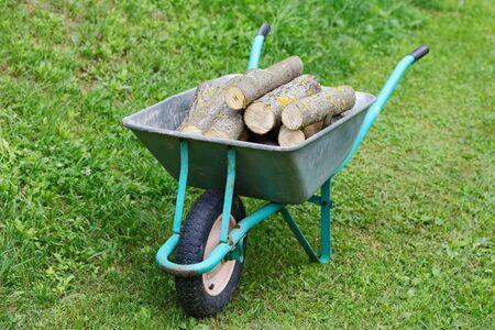 carretilla de mano: carro de mano con leña en la hierba verde Foto de archivo