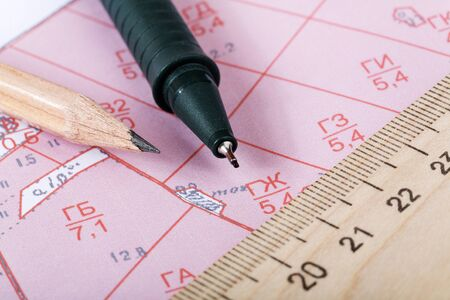 map pencil: Topographic map of district with  ruler and a pencil Stock Photo