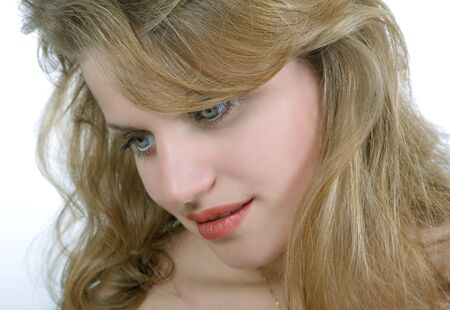 portrait of a beautiful girl close up in studio