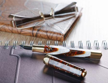 Vulpenen en dagboeken met lederen omslag