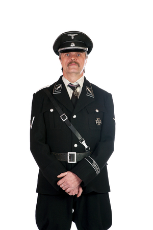 man in the form  standartenfuehrer ss on a white background 写真素材