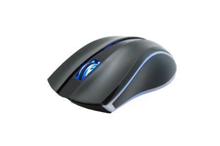 computer mouse with glowing wheel isolated on white background