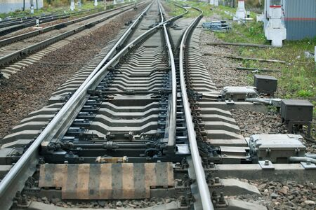 railway arrows close up with rail track elements