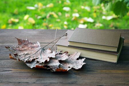 old books with brown maple leaves on a rustic table 写真素材
